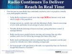 radio continues to deliver massive reach in real time