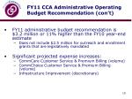 fy11 cca administrative operating budget recommendation con t