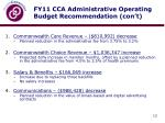 fy11 cca administrative operating budget recommendation con t1
