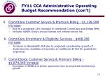 fy11 cca administrative operating budget recommendation con t2