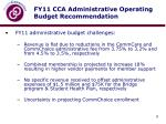 fy11 cca administrative operating budget recommendation