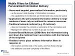 mobile filters for efficient personalized information delivery
