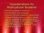 considerations for multicultural students