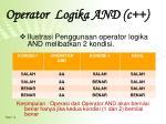operator logika and c