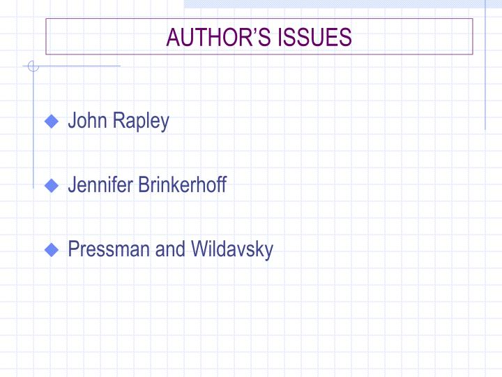 AUTHOR'S ISSUES