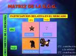 matriz de la b c g