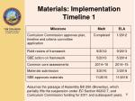 materials implementation timeline 1