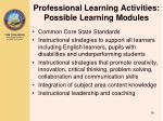 professional learning activities possible learning modules