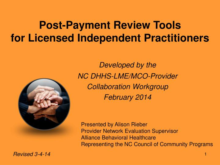 post payment review tools for licensed independent practitioners n.