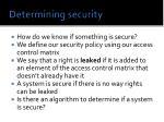 determining security