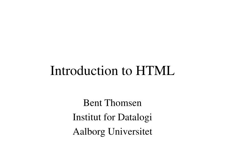 introduction to html n.
