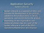 application security system lifecycle