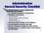 administration record security checklist