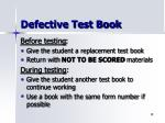 defective test book
