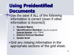 using preidentified documents