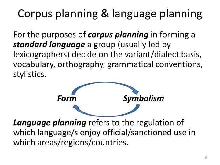 Corpus planning language planning