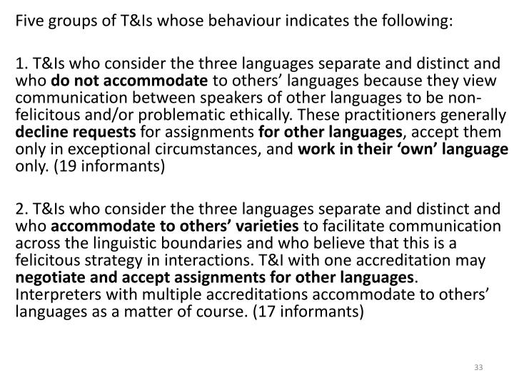 Five groups of T&Is whose behaviour indicates the following: