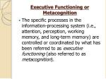 executive functioning or metacognition
