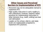 other issues and perceived barriers to implementation of rti