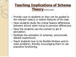 teaching implications of schema theory continued