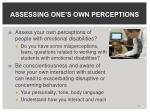 assessing one s own perceptions