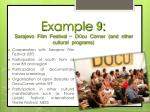 example 9 sarajevo film festival d o cu corner and other cultural programs