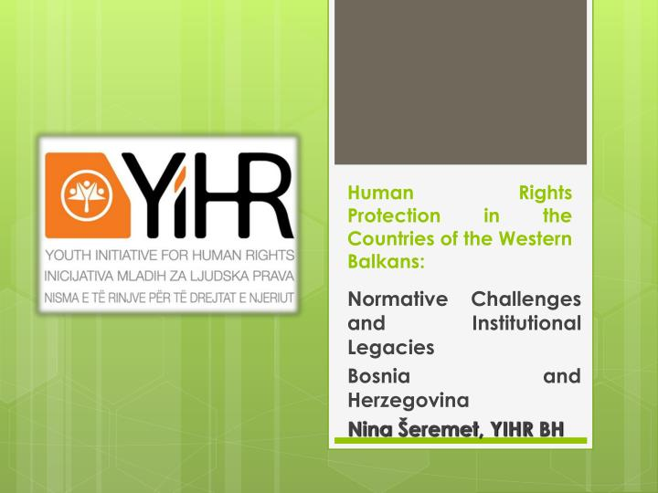 human rights protection in the countries of the western balkans n.