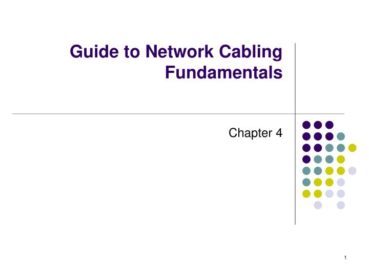 guide to network cabling fundamentals n.