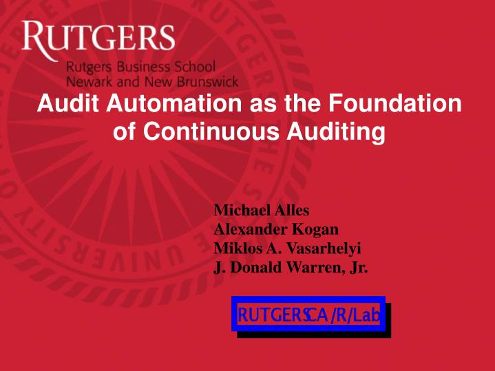 audit automation as the foundation of continuous auditing n.