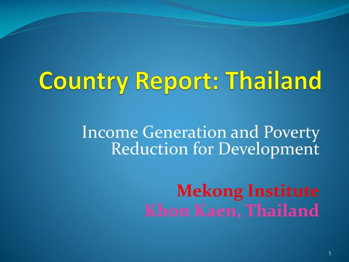 country report thailand n.
