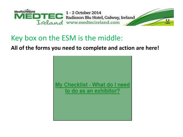 Key box on the ESM is the middle: