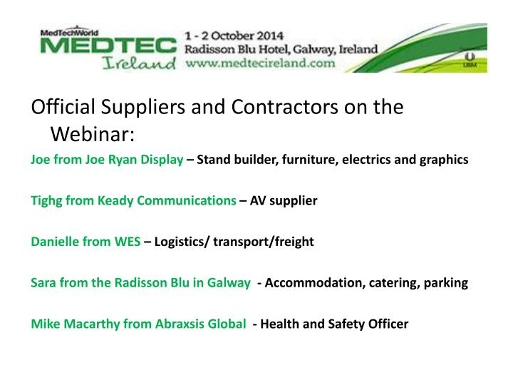 Official Suppliers and Contractors on the Webinar: