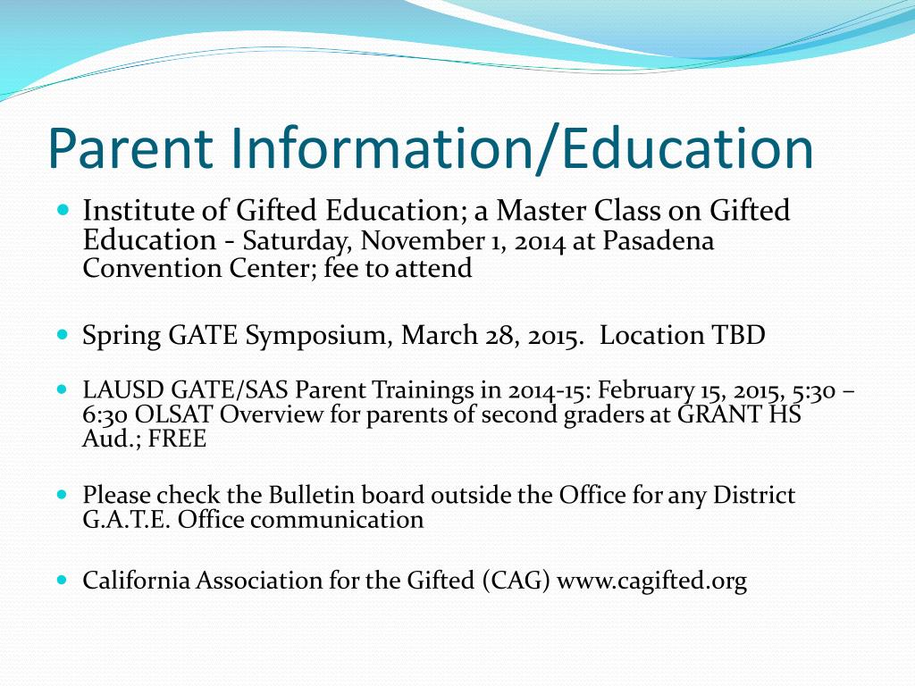 PPT - GATE/SAS Parent Meeting PowerPoint Presentation - ID