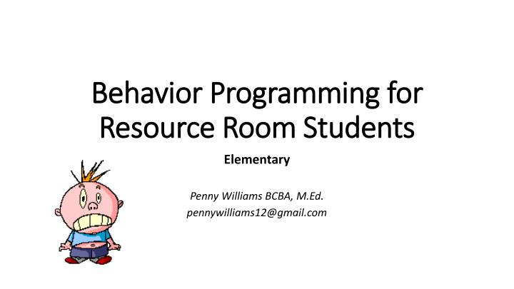 behavior programming for resource room students n.