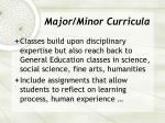 major minor curricula