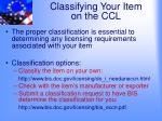 classifying your item on the ccl1
