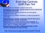 end use controls ear part 744