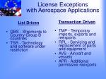 license exceptions with aerospace applications