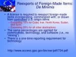 reexports of foreign made items de minimis