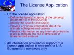 the license application