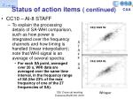 status of action items continued