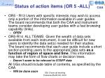 status of action items or 5 all