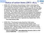status of action items or 5 all1