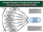 strongest predictors of transfer student retention fall 2009 transfers preliminary results
