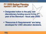 fy 2009 budget planning september 1 2008 august 31 2009