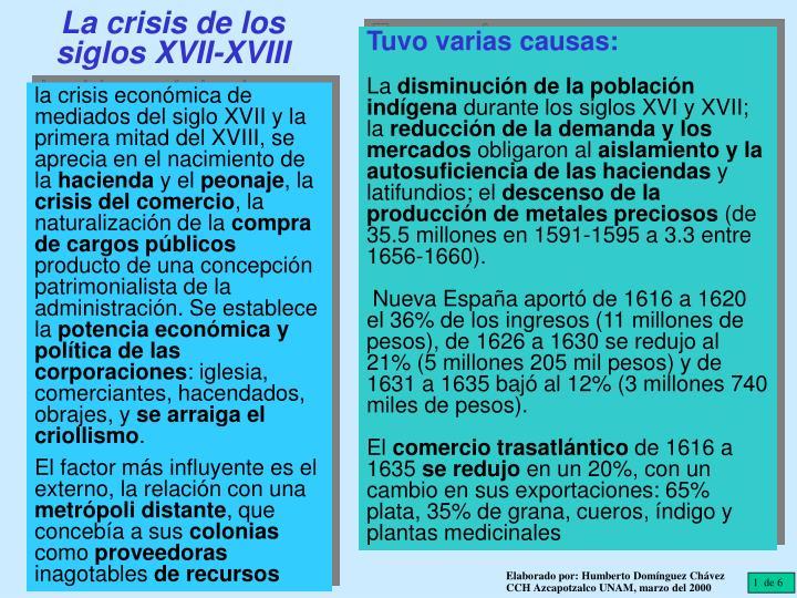 La crisis de los siglos XVII-XVIII
