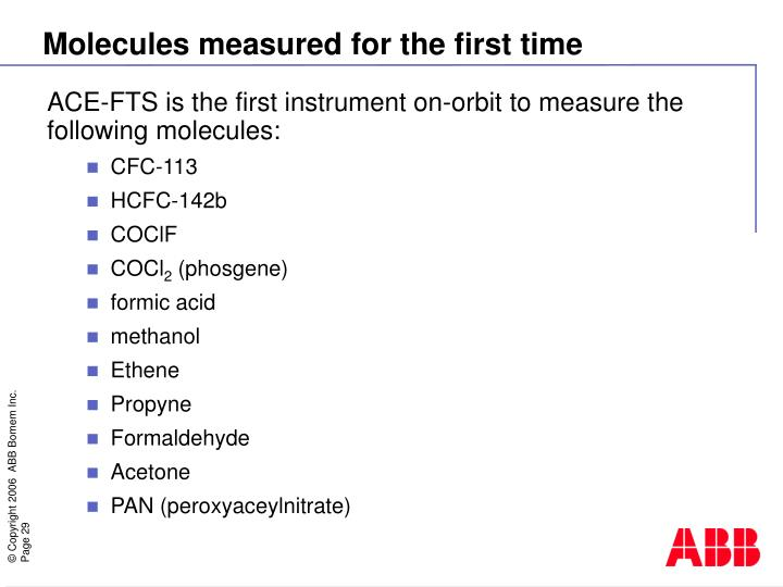 ACE-FTS is the first instrument on-orbit to measure the following molecules: