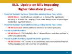 iii 3 update on bills impacting higher education contd
