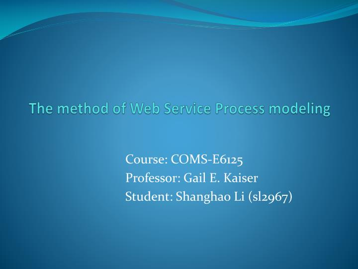 the method of web service process modeling n.