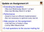 update on assignment 1